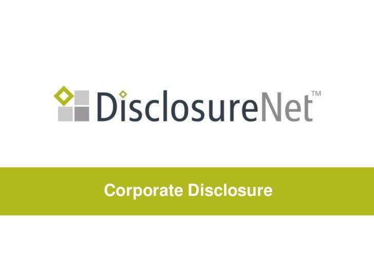 Corporate Disclosure