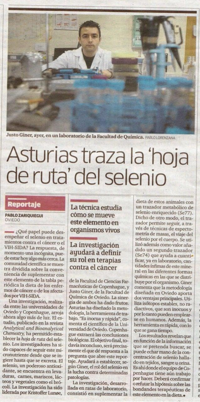 2012. Reportaje de La Voz de Asturias sobre el selenio.
