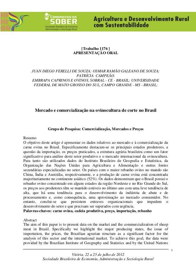 Vitória, 22 a 25 de julho de 2012 Sociedade Brasileira de Economia, Administração e Sociologia Rural 1 [Trabalho 1176 ] AP...