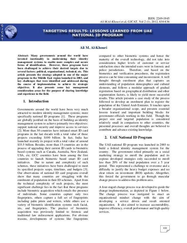 ISSN: 2249-1945                                                                    Ali M.Al-Khouri et al, GJCAT, Vol 2 (1)...