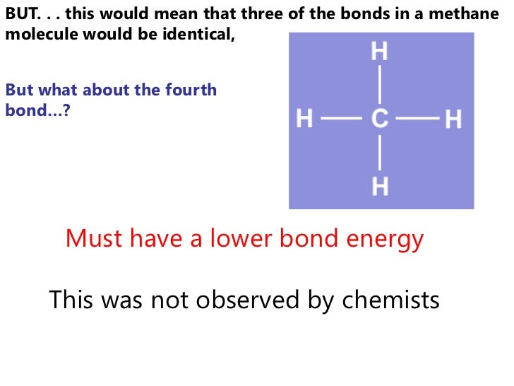 BUT. . . this would mean that three of the bonds in a methanemolecule would be identical,But what about the fourthbond…?  ...
