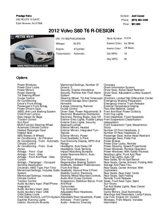 2012 Volvo S60 R-Design for sale at Prestige Volvo East