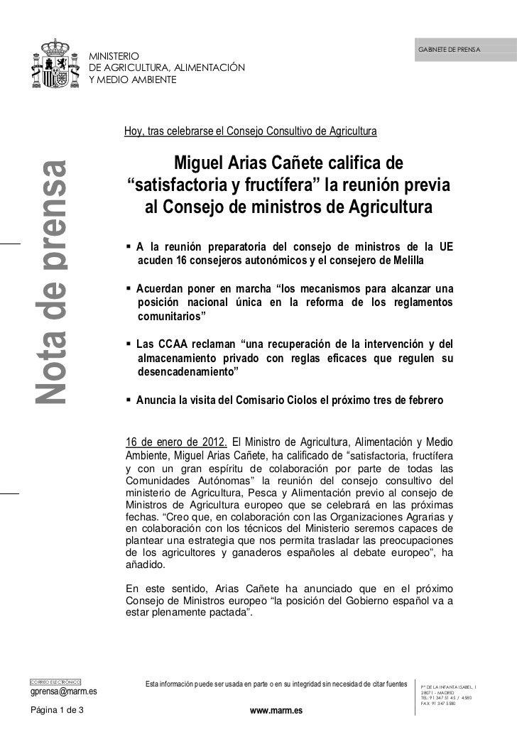GABINETE DE PRENSA                     MINISTERIO                     DE AGRICULTURA, ALIMENTACIÓN                     Y M...