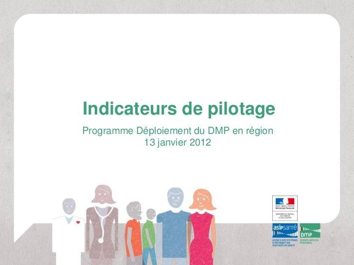 Indicateurs de pilotageProgramme Déploiement du DMP en région           13 janvier 2012