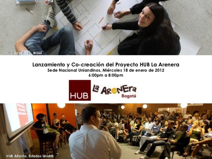 HUB Atlanta, Estados Unidos HUB Sao Paulo, Brasil Lanzamiento y Co-creación del Proyecto HUB La Arenera Sede Nacional Unia...