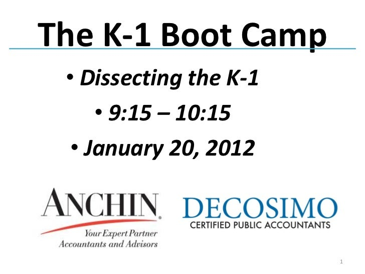 The K-1 Boot Camp • Dissecting the K-1     • 9:15 – 10:15  • January 20, 2012                        1