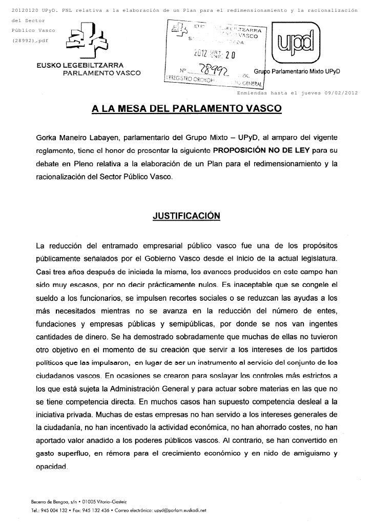 20120120 UPyD. PNL relativa a la elaboración de un Plan para el redimensionamiento y la racionalizacióndel SectorPúblico V...