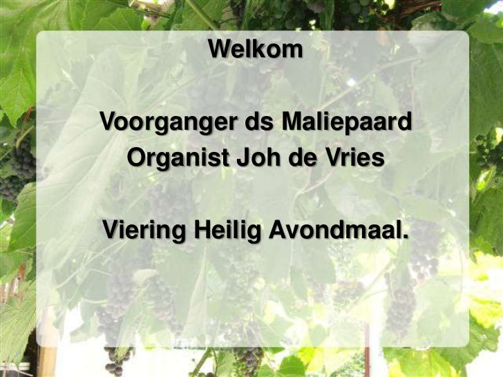 WelkomVoorganger ds Maliepaard  Organist Joh de VriesViering Heilig Avondmaal.