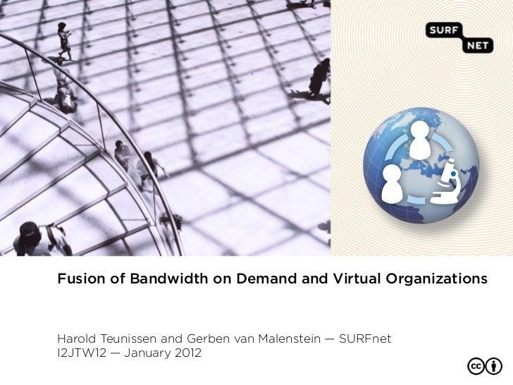 Fusion of Bandwidth on Demand and Virtual OrganizationsHarold Teunissen and Gerben van Malenstein — SURFnetI2JTW12 — Janua...