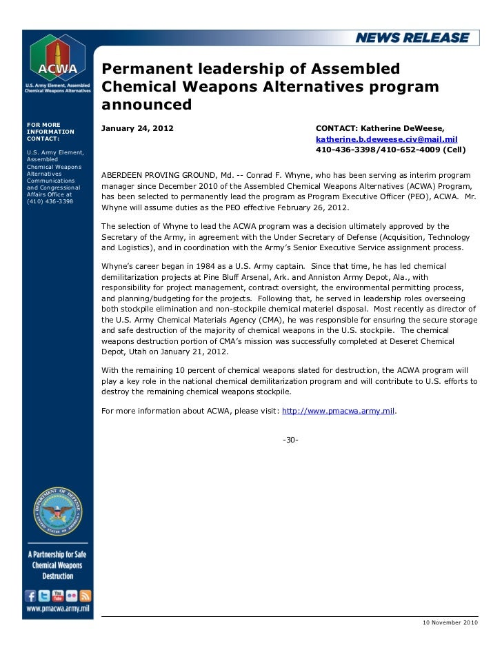 Permanent leadership of Assembled                     Chemical Weapons Alternatives program                     announcedF...