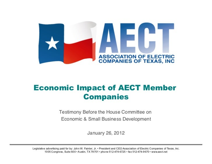Economic Impact of AECT Member           Companies                       Testimony Before the House Committee on!         ...