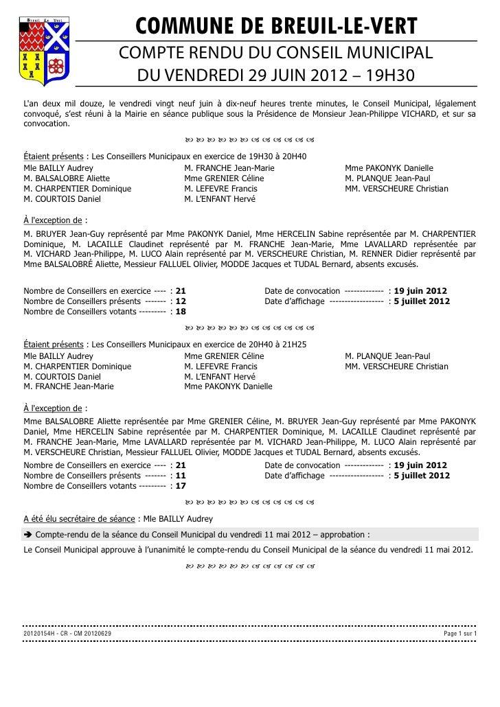 COMMUNE DE BREUIL-LE-VERT                               COMPTE RENDU DU CONSEIL MUNICIPAL                                 ...