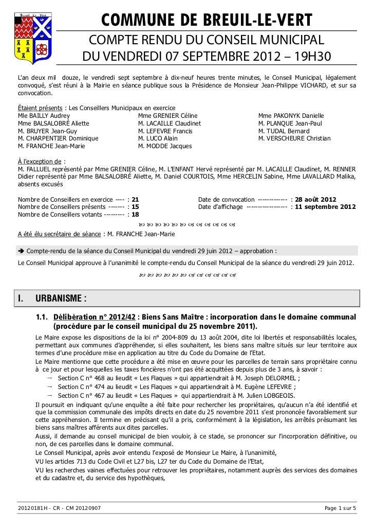 COMMUNE DE BREUIL-LE-VERT                        COMPTE RENDU DU CONSEIL MUNICIPAL                       DU VENDREDI 07 SE...