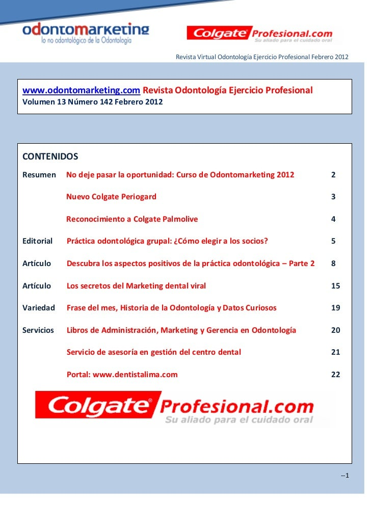 Revista Virtual Odontología Ejercicio Profesional Febrero 2012www.odontomarketing.com Revista Odontología Ejercicio Profes...
