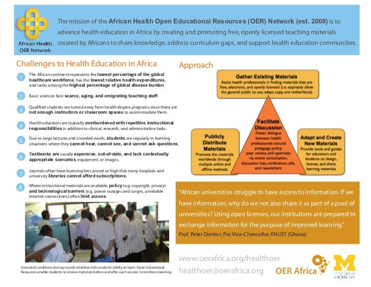 The mission of the African Health Open Educational Resources (OER) Network (est. 2008) is to                        advanc...