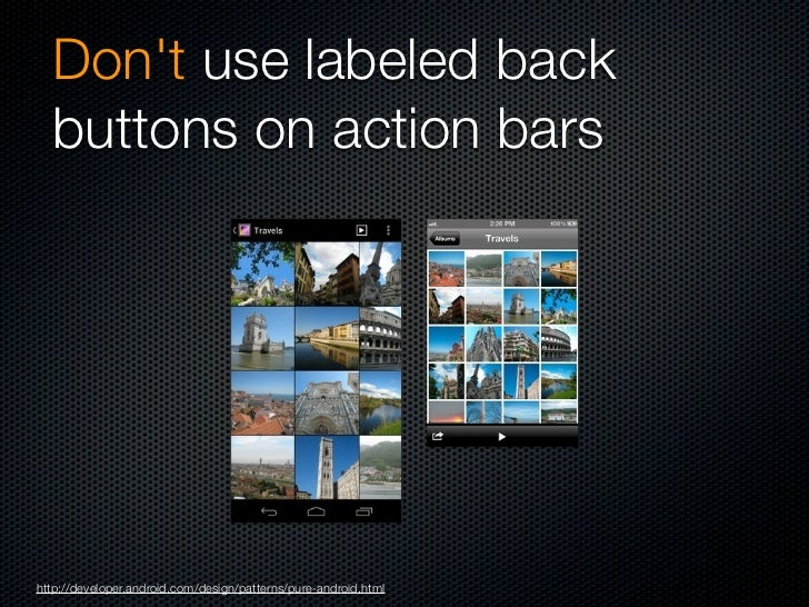 Dont use right-pointing  carets on line itemshttp://developer.android.com/design/patterns/pure-android.html