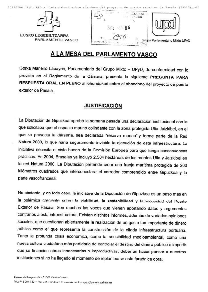 20120206 UPyD. PRO al lehendakari sobre abandono del proyecto de puerto exterior de Pasaia (29513).pdf