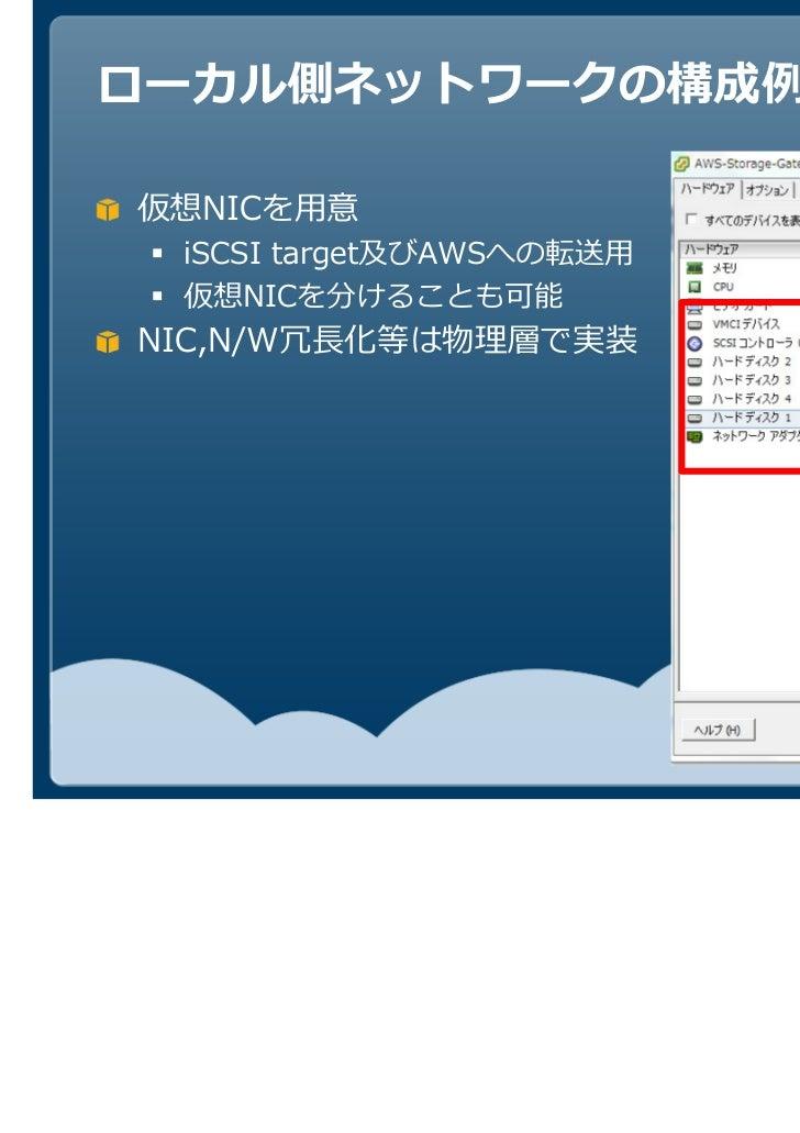 仮想NICを用意  iSCSI target及びAWSへの転送用  仮想NICを分けることも可能NIC,N/W