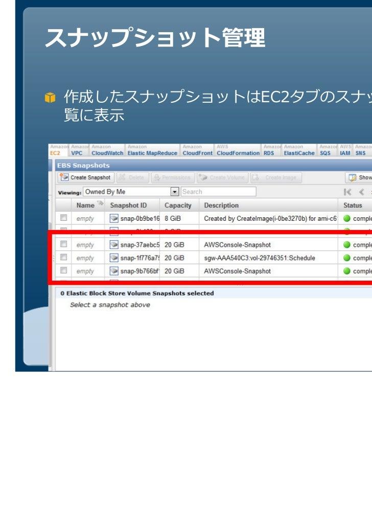 作成したスナップショットはEC2タブのスナップショット一覧に表示