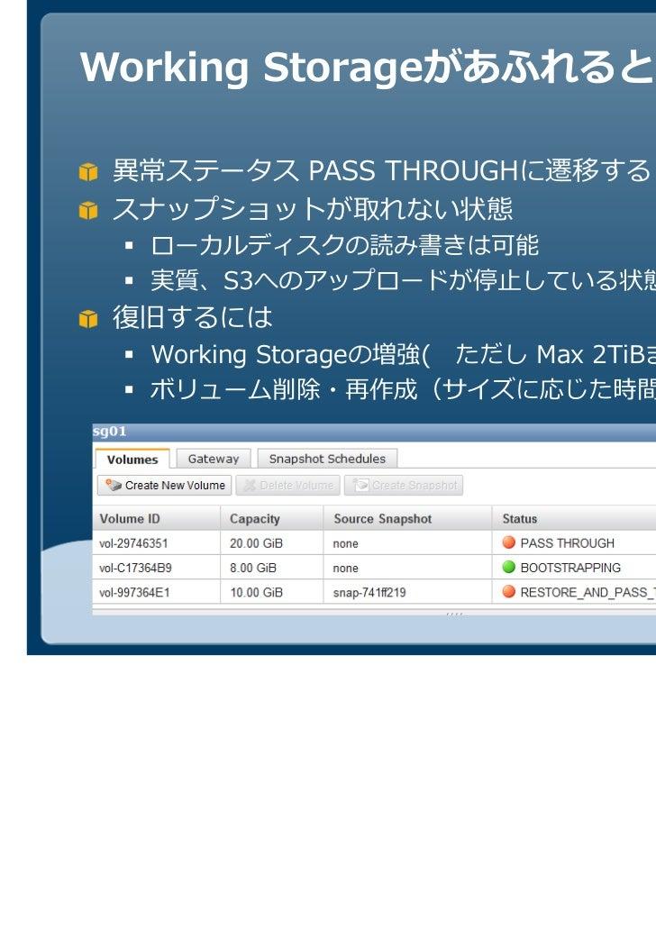 Working Storageがあふれると        PASS THROUGHに遷移する スナップショットが取れない状態  ローカルディスクの読み書きは可能  実質、S3へのアップロードが停止している状態  Working Storageの...