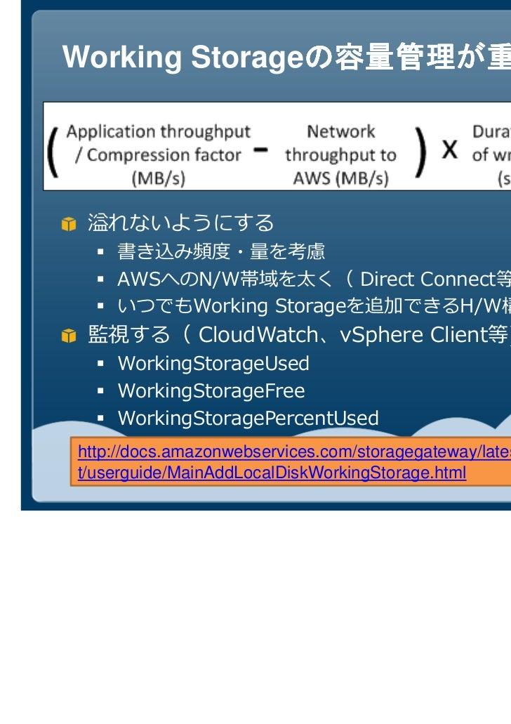 Working Storageの容量管理が重要               の容量管理が重要 溢れないようにする    AWSへのN/W帯域を太く( Direct Connect等)    いつでもWorking Storageを追加できるH/...