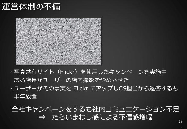 運営体制の不備・写真共有サイト(Flickr)を使用したキャンペーンを実施中 ある店長がユーザーの店内撮影をやめさせた・ユーザーがその事実を Flickr にアップしCS担当から返答するも 半年放置 全社キャンペーンをするも社内コミュニケーショ...