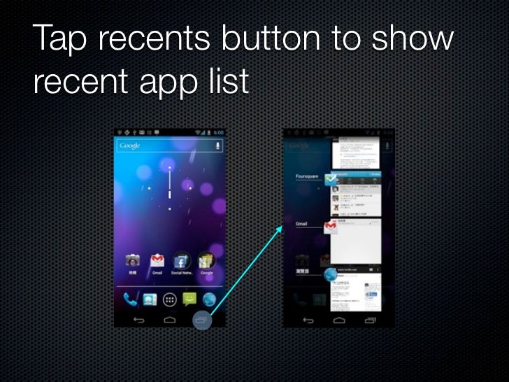 The new recents screen            tap to switch            swipe to remove