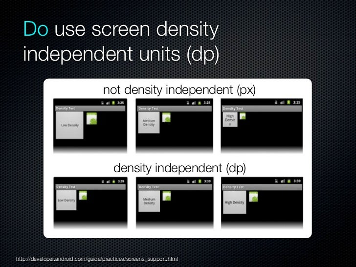 Do create versions of all resources  for high density screenshttp://developer.android.com/design/style/devices-displays.html