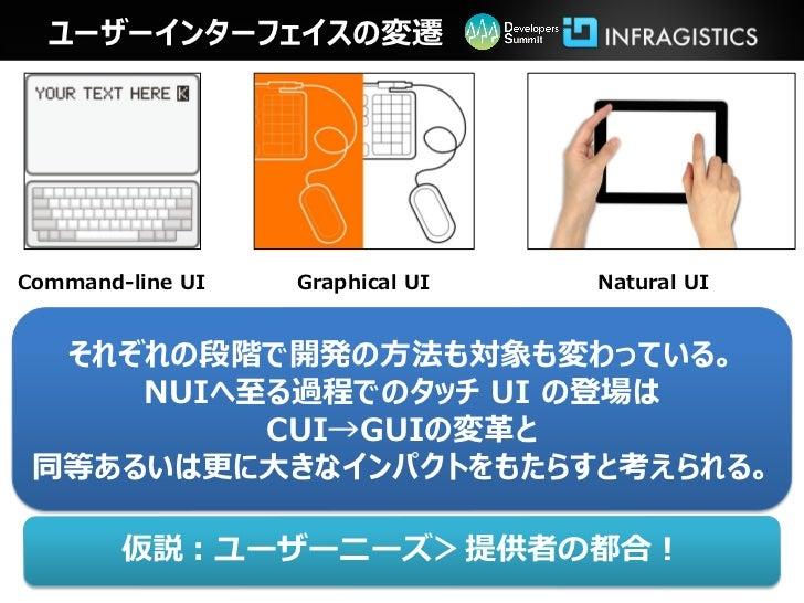 ユーザーインターフェイスの変遷Command-line UI   Graphical UI   Natural UI  それぞれの段階で開発の方法も対象も変わっている。     NUIへ至る過程でのタッチ UI の登場は          CU...