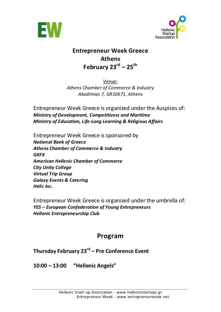 EntrepreneurWeekGreece                           Athens                      February23rd–25th                    ...