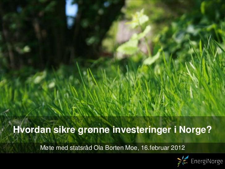 Hvordan sikre grønne investeringer i Norge?     Møte med statsråd Ola Borten Moe, 16.februar 2012