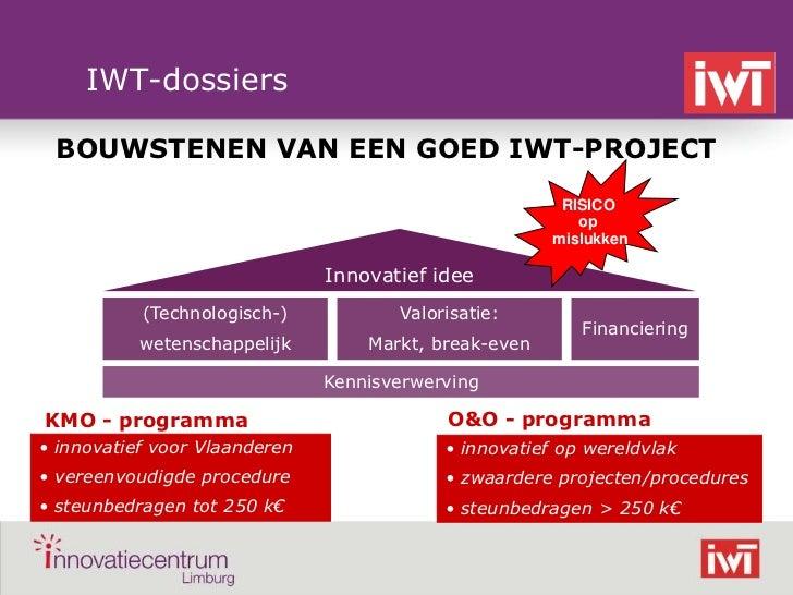 IWT-dossiers     BOUWSTENEN VAN EEN GOED IWT-PROJECT                                                            RISICO    ...