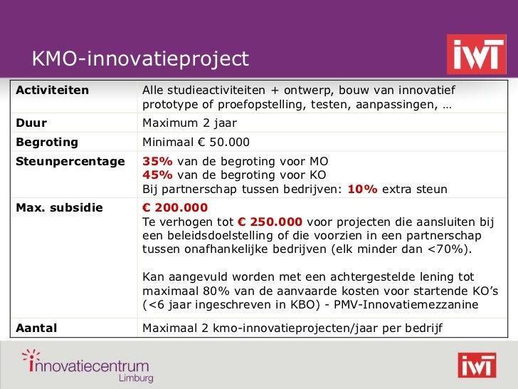 KMO-innovatieprojectActiviteiten      Alle studieactiviteiten + ontwerp, bouw van innovatief                  prototype of...