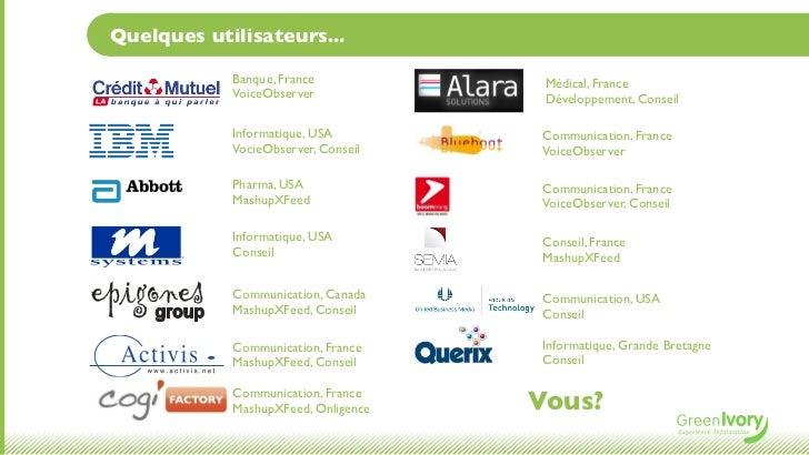 Quelques utilisateurs...            Banque, France            Médical, France            VoiceObserver             Dévelop...