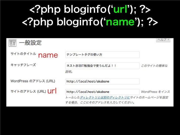 <?php bloginfo( url ); ?><?php bloginfo( name ); ?>   name    url