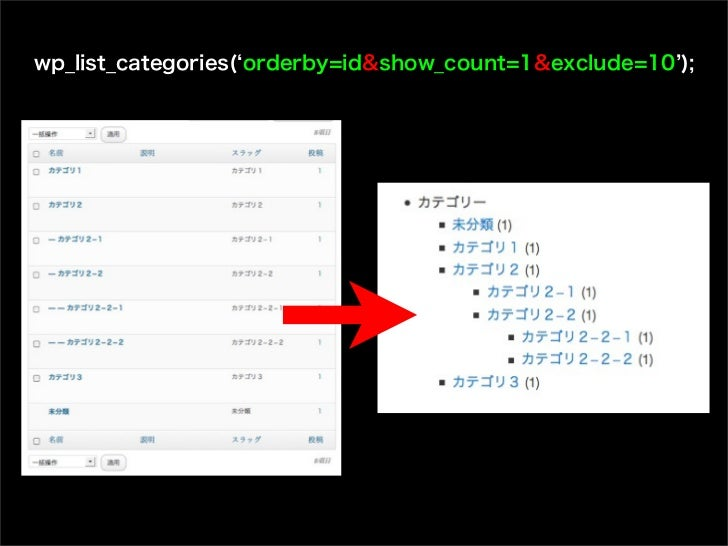wp_list_categories( orderby=id&show_count=1&exclude=10 );
