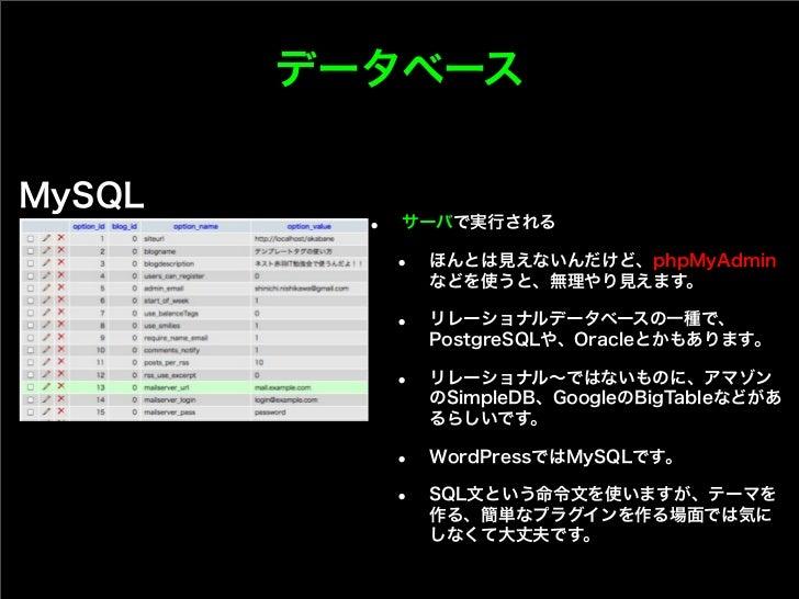 データベースMySQL          •   サーバで実行される              •   ほんとは見えないんだけど、phpMyAdmin                  などを使うと、無理やり見えます。             ...