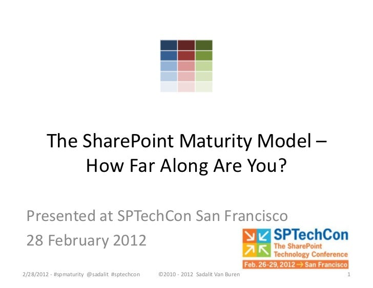 The SharePoint Maturity Model –            How Far Along Are You? Presented at SPTechCon San Francisco 28 February 20122/2...