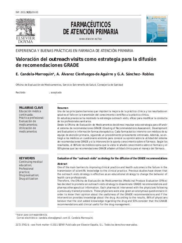 FARMACÉUTICOS DE ATENCIÓN PRIMARIA www.elsevier.es/fap FAP www.elsevier.es/fap FARMACÉUTICOS DEATENCIÓN PRIMARIA Publicaci...