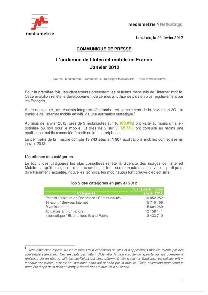 Levallois, le 29 février 2012                                    COMMUNIQUE DE PRESSE                     L'audience de l'...
