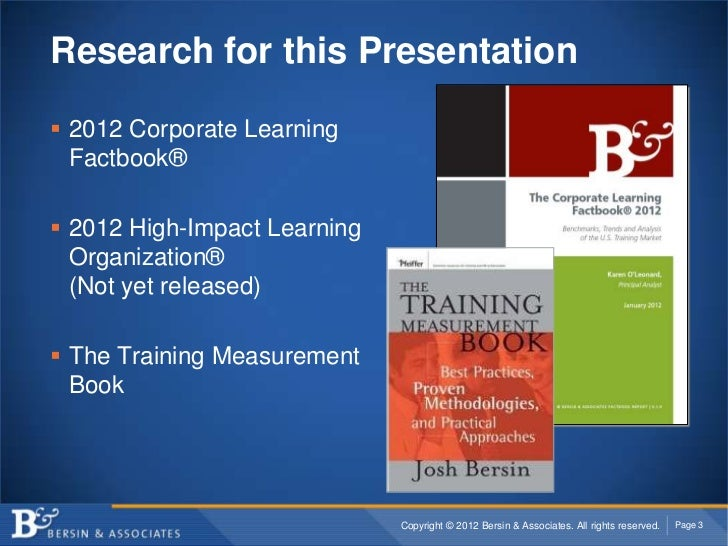 Research for this Presentation 2012 Corporate Learning  Factbook® 2012 High-Impact Learning  Organization®  (Not yet rel...