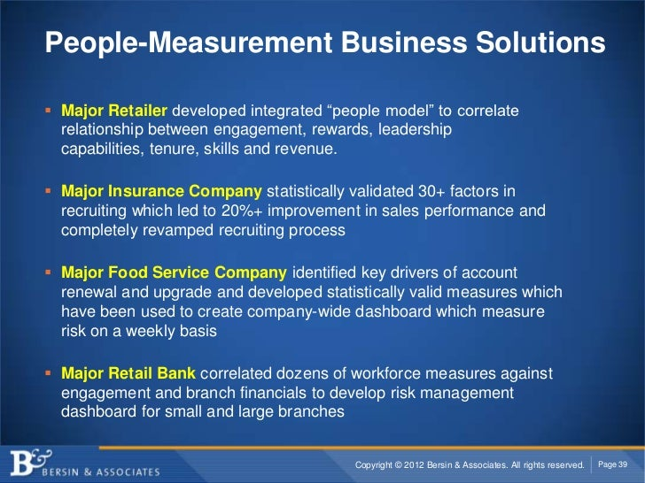 """People-Measurement Business Solutions Major Retailer developed integrated """"people model"""" to correlate  relationship betwe..."""