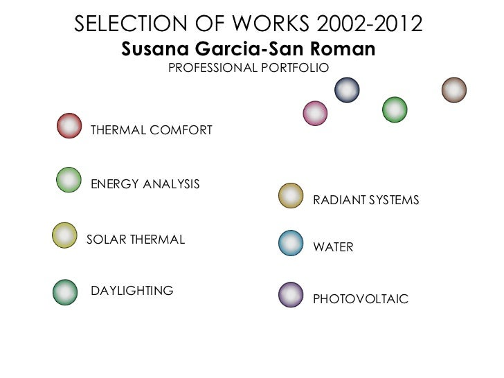 SELECTION OF WORKS 2002-2012     Susana Garcia-San Roman           PROFESSIONAL PORTFOLIO THERMAL COMFORT ENERGY ANALYSIS ...