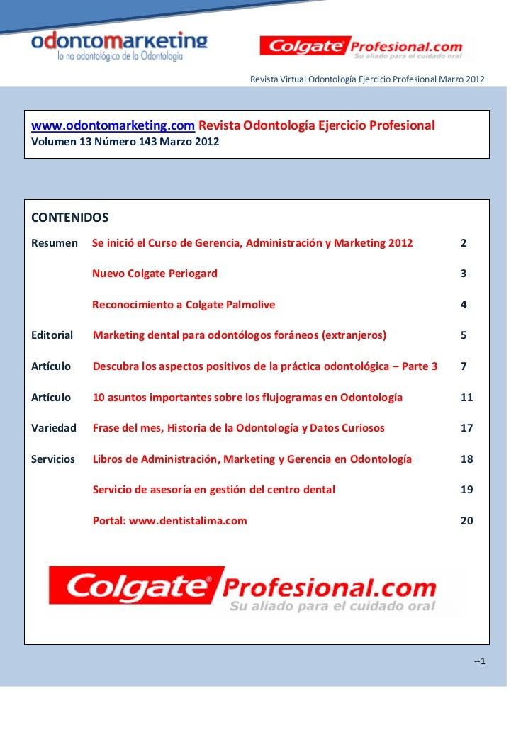 Revista Virtual Odontología Ejercicio Profesional Marzo 2012www.odontomarketing.com Revista Odontología Ejercicio Profesio...
