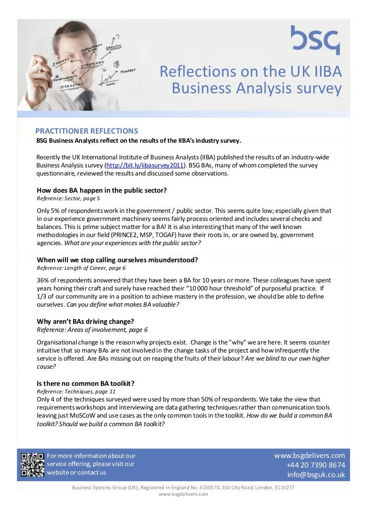 Reflections on the UK IIBA                                                  Business Analysis surveyPRACTITIONER REFLECTIO...
