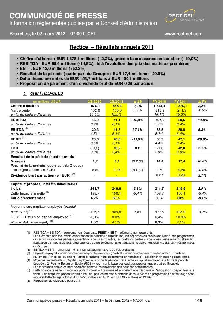 COMMUNIQUÉ DE PRESSEInformation réglementée publiée par le Conseil d'AdministrationBruxelles, le 02 mars 2012 – 07:00 h CE...