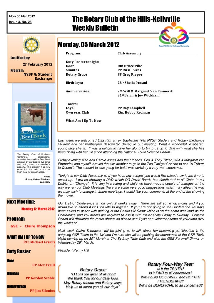 The Rotary Club of the Hills-Kellyville Mon 05 Mar 2012 Issue 3. No. 28                                                   ...