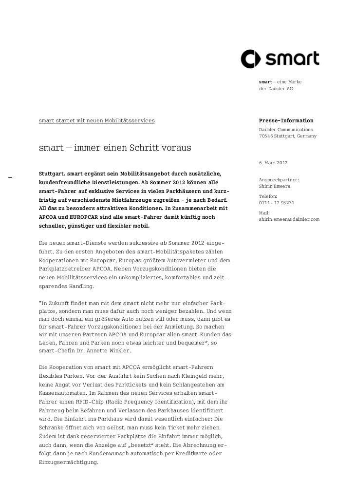 smart – eine Marke                                                                        der Daimler AGsmart startet mit ...
