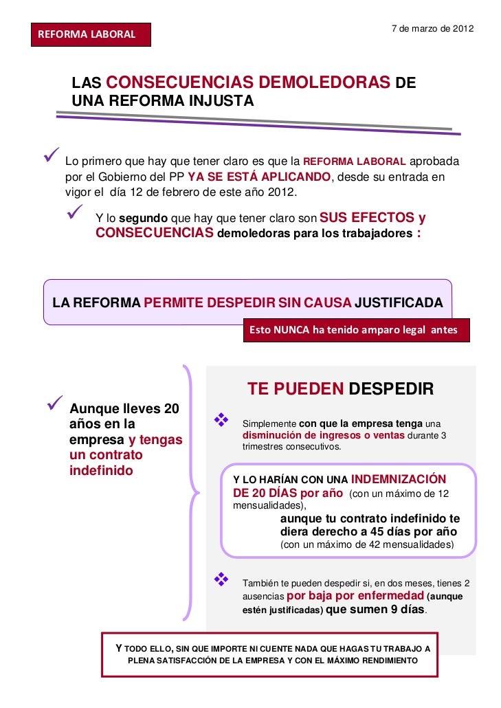 7 de marzo de 2012REFORMALABORAL      LAS CONSECUENCIAS DEMOLEDORAS DE      UNA REFORMA INJUSTA     Lo primero que hay q...