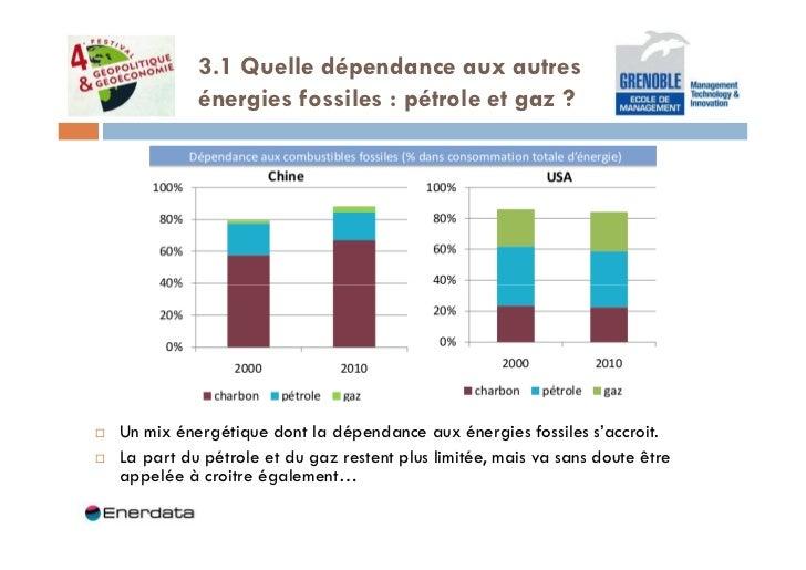 3.1 Quelle dépendance aux autres          énergies fossiles : pétrole et gaz ?Un mix énergétique dont la dépendance aux én...